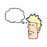 человек шаржа чувствуя больной с пузырем мысли Стоковая Фотография