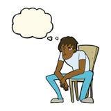 человек шаржа dejected с пузырем мысли бесплатная иллюстрация