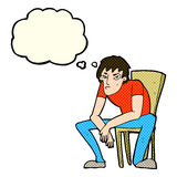 человек шаржа dejected с пузырем мысли иллюстрация штока