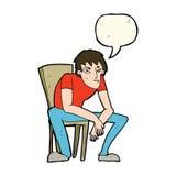 человек шаржа dejected с пузырем речи иллюстрация вектора