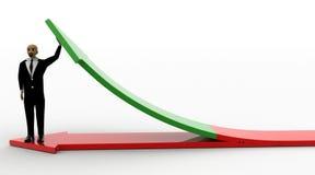 человек лысой головы 3d стоя на красной стрелке и поддерживая зеленой стрелке Стоковая Фотография