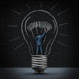 Человек электрической лампочки Стоковое Изображение