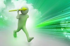 человек 3d бросает копье Стоковая Фотография RF