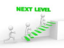человек 3d взбирается лестница следующего уровня Стоковая Фотография RF