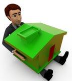 человек 3d держа домашнюю концепцию Стоковая Фотография RF