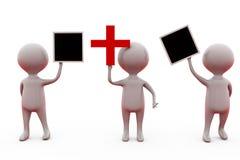 человек 3d держа плюс концепция знака и доски Стоковое Фото