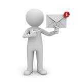 человек 3d держа уведомление электронной почты в его электронное письмо руки одного новое в ящике входящей почты Стоковое фото RF