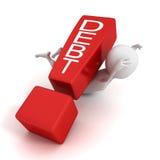 человек 3d задавленный восклицательным знаком красного цвета задолженности принципиальной схемы Стоковые Фотографии RF