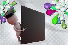 человек 3d за черной иллюстрацией доски Стоковые Фото
