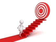 человек 3d идя вверх для нацеливания на лестнице успеха Стоковое Изображение