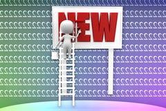 человек 3d крася новую иллюстрацию текста Стоковое фото RF