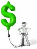 человек 3D нагнетая знак доллара Стоковая Фотография RF