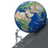 человек 3d нажимая землю планеты Стоковая Фотография