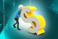 человек 3d нажимая знак доллара Стоковая Фотография