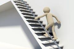 человек 3D на лестницах Стоковые Фото