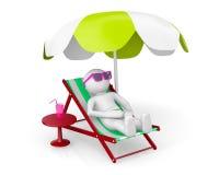 человек 3D на пляже th Стоковые Изображения