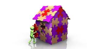 человек 3D достигая здания его дома иллюстрация вектора