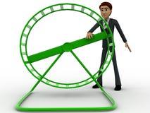человек 3d поворачивая малую концепцию колеса закрутки Стоковое Фото