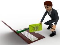 человек 3d посылает почту через концепцию компьтер-книжки Стоковая Фотография RF