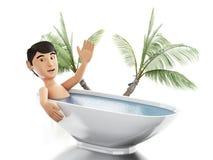 человек 3d принимает ванну в ушате иллюстрация вектора