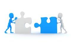 человек 3d соединяя 2 части головоломки иллюстрация штока