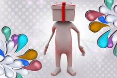 человек 3d с иллюстрацией головы подарка Стоковые Изображения