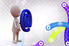 человек 3d с иллюстрацией значка почты Стоковые Изображения