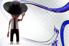 человек 3d с иллюстрацией ковбойской шляпы Стоковое Изображение
