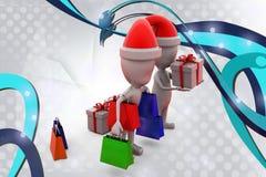 человек 3d с иллюстрацией покупок рождества Стоковые Изображения