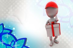 человек 3d с иллюстрацией поставки подарка Стоковые Изображения