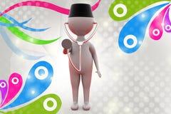 человек 3d с иллюстрацией стетоскопа Стоковое Изображение