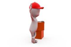человек 3d с концепцией пакетов Стоковая Фотография