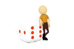 человек 3d с кубом дела Стоковая Фотография