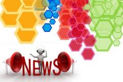 человек 3D с новостями и мегафоном слова Стоковое Фото