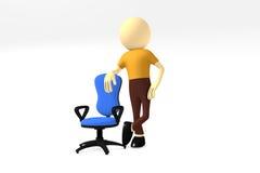 человек 3d с удобным стулом компьютера Стоковая Фотография RF