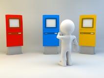человек 3d с ATM Стоковые Изображения