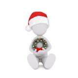 человек 3d украшая рождественскую елку иллюстрация вектора