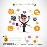 Человек Dept с диаграммой infographic - иллюстрация вектора