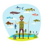 Человек Fisher с рыбной ловлей вектора вылова рыбы Стоковая Фотография