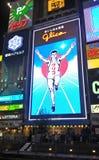 Человек Glico, светлая афиша в торговой улице Dotonbori, Осака, Японии Стоковые Фото