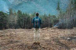 Человек Hiker стоя в лесе стоковая фотография