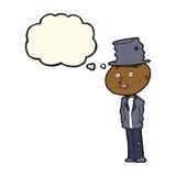 человек hobo шаржа смешной с пузырем мысли иллюстрация вектора