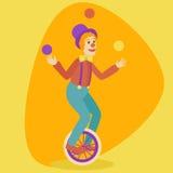 Человек Juggler на ретро старом векторе шаржа юнисайкла Стоковое Изображение RF