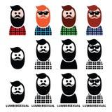 Человек Lumbersexual, lumberjack - установленные значки тенденции моды Стоковая Фотография