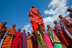 Человек Masai племени показывает ритуальные скачки Стоковое фото RF