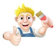 Человек Paintbrush над большими пальцами руки знака вверх Стоковые Изображения