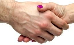 человек s руки трястия женщину Стоковые Фотографии RF