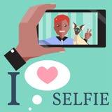 Человек Selfie с сиамским котом Стоковое Изображение