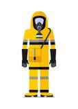 Человек Workwear в маске противогаза Стоковое фото RF