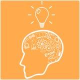 Человеческая голова и значки науки вектор Стоковые Фотографии RF